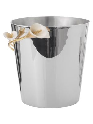 Calla Lily Stainless Steel, Brass & White Enamel Bucket