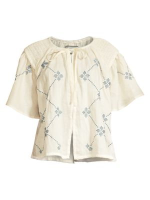 Oliver Daily Print Short-Sleeve Linen Top