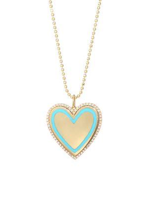 14K Yellow Gold, Diamond, Turquoise Enamel Heart Pendant Necklace