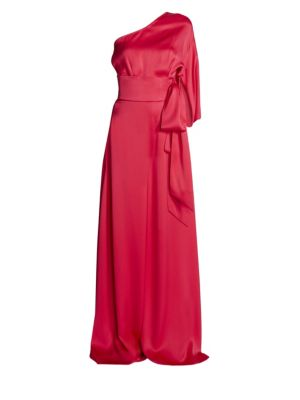 One-Shoulder Silk Satin Jumpsuit
