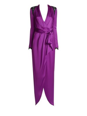 Embellished Silk Satin Wrap Gown