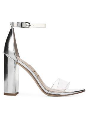 Yaro Vinyl & Metallic Leather Ankle Strap Heels