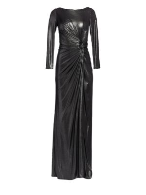 Ruched Side Slit Patent Glitter Long-Sleeve Gown