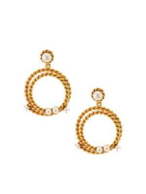 Swarovski Faux-Pearl & Goldtone Rope Hoop Earrings