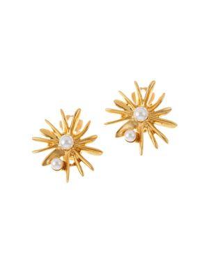 Classic Swarovski Crystal Pearl Starburst Earrings