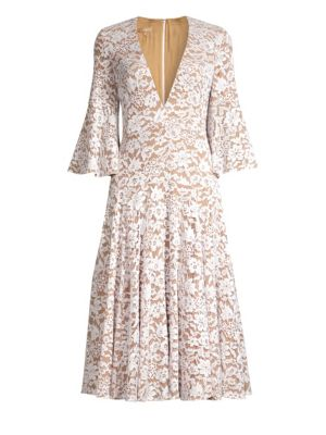 Deep V-Neck Lace Bell-Sleeve Dress