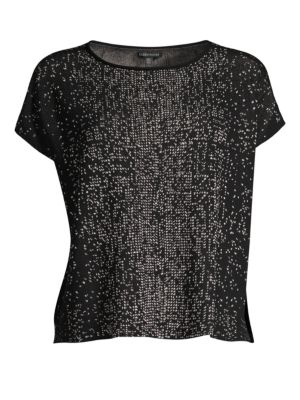 Woven Graphic Boat Neck Top