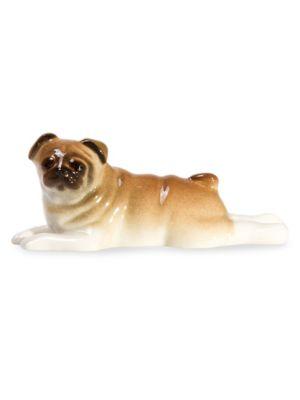 Porcelain Lying Pug Statue