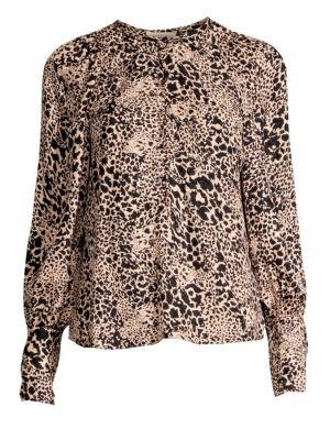 Silk Jacquard Hidden Leopard Blouse