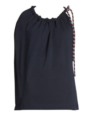 Tied Short-Sleeve Blouse