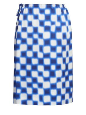 Drawstring Check Pencil Skirt