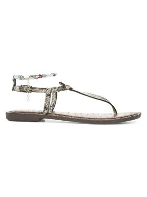 Geena Snake Print Leather Gladiator Sandals