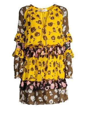 Haven Tiered Floral Silk Blouson Dress