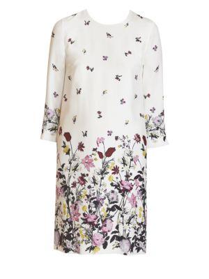 Emma Floral Silk Shift Dress