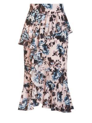Roselia Floral Silk Midi Skirt