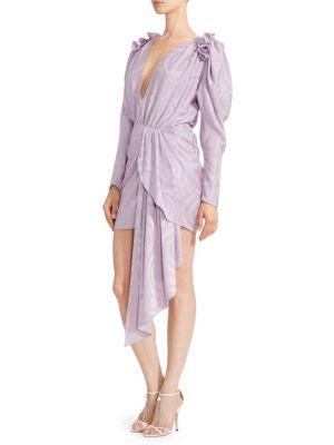 Lagos Print-Silk Blouson Drape Dress