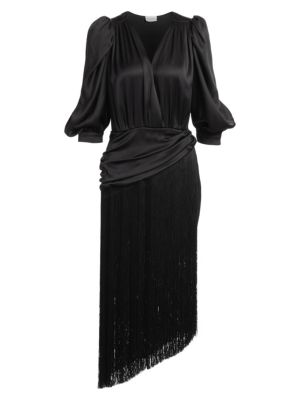 Wels Puff Sleeve Fringed Dress