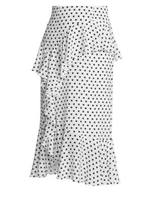 Roselia Silk Polka Dot Midi Skirt