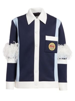 Techno Jersey Feather Detail Jacket
