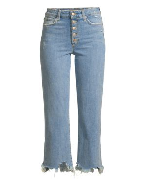 The Wyatt High-Rise Crop Jeans W/ Destructed Hem in Tarah