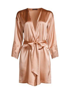 Josie Natori Sleek Lace-Accent Stretch Silk Wrap