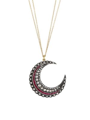 18K Yellow Gold, Sterling Silver, Diamond & Ruby Crescent Moon Necklace