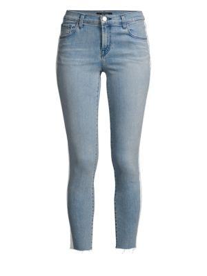 835 Mid-Rise Low-Waist Crop Racing Stripe Raw Hem Skinny Jeans