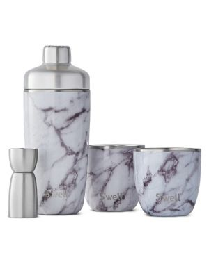 S'WELL Barware Marble Cocktail Kit in White Marble