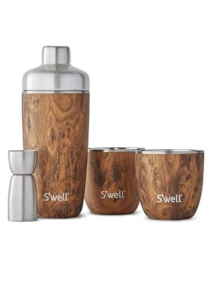 S'WELL Teakwood Stainless Steel Five-Piece Cocktail Kit