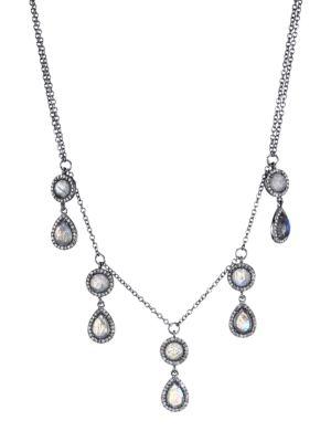 Black Rhodium-Plated, Labradorite & Diamond Drop Station Necklace