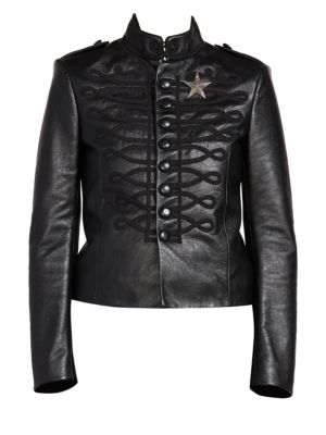 Embroidered Leather Officer Jacket