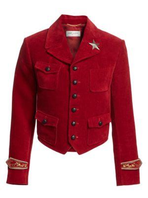 Embroidered Velvet Band Jacket