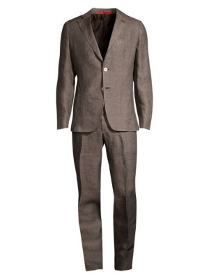 Delave Solid Linen Single-Breasted Suit