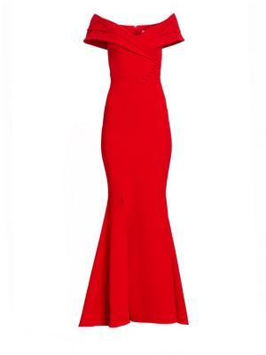 Madison Heavy Crepe Off-The-Shoulder Gown