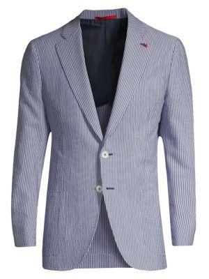 Stripe Seersucker Single-Breasted Jacket
