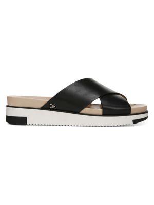 Audrea Crisscross Leather Slides