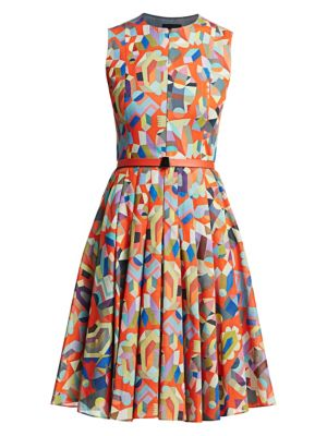 Sleeveless Printed Fit-&-Flare Dress