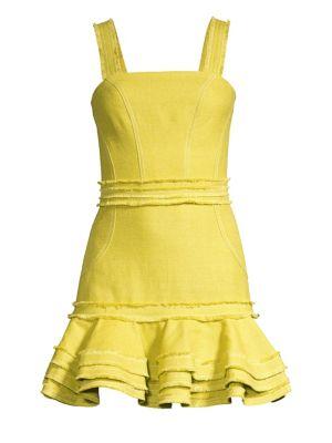 Judith Linen & Cotton Ruffled Mini Dress