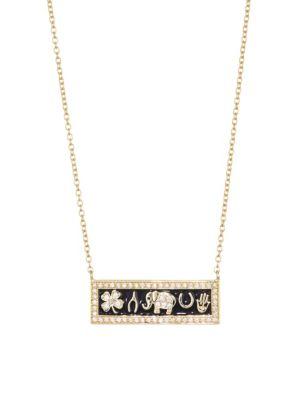 Luck Enamel & 14K Yellow Gold Bar Necklace