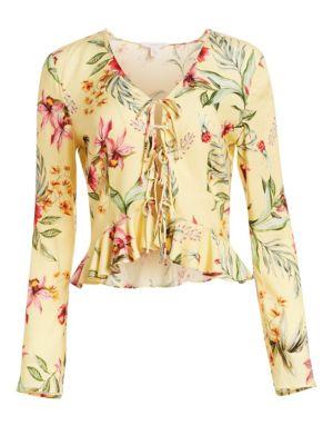 Floral Tie-Front Crop Peplum Blouse