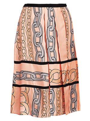 Silk Twill Pleated A-Line Skirt