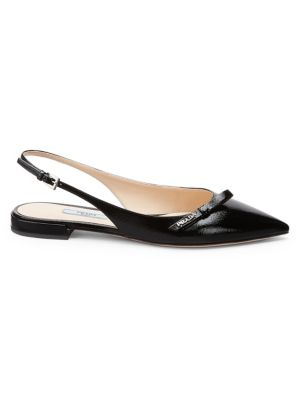 PRADA | Patent Leather Point-Toe Slingback Flats | Goxip