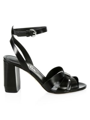 Leather Ankle-Strap Block Heel Sandals