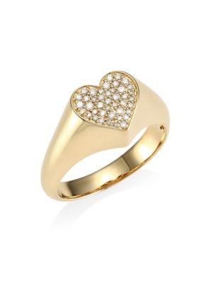 14K Yellow Gold & Pavé Diamond Heart Signet Ring