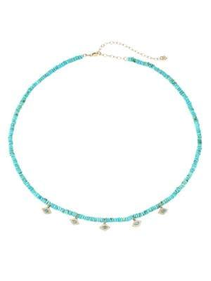 14K Yellow Gold, Diamond & Turquoise Evil Eye Charm Necklace