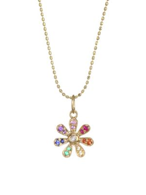 14K Yellow Gold Multi-Gem Daisy Charm Necklace