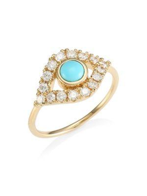 14K Yellow Gold Diamond & Turquoise Evil Eye Ring