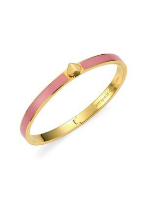Thin Enamel & Goldtone Spade Hinge Bangle Bracelet