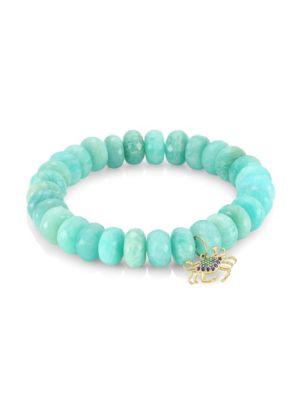 14K Yellow Gold, Blue Diamond, Sapphire, Emerald & Amazonite Large Crab Beaded Bracelet