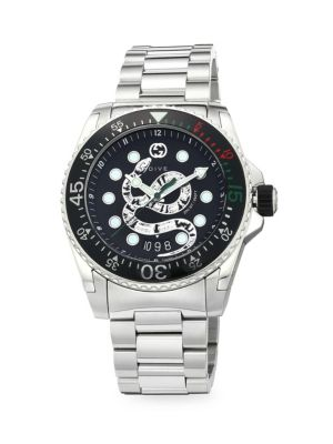 Diver Gucci Dive 45MM Stainless Steel King Snake Dial with Bracelet